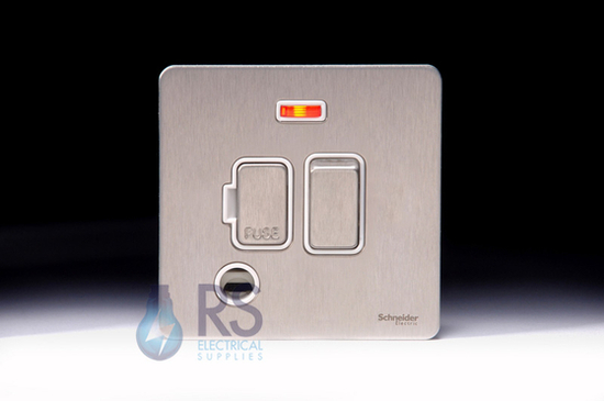Schneider Screwless Flat Plate Stainless Steel Switched Spur Neon with Flex Outlet White Inserts GU5414WSS