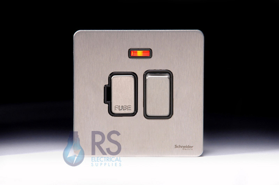 Schneider Screwless Flat Plate Stainless Steel Switched Spur with Neon Black Inserts GU5411BSS