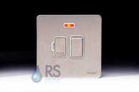 Schneider Screwless Flat Plate Stainless Steel Switched Spur with Neon White Inserts GU5411WSS