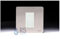 Schneider Screwless Flat Plate Stainless Steel Telephone Master White Inserts GU7461MWSS
