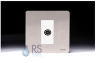 Schneider Screwless Flat Plate Stainless Steel TV Socket White Insert GU7410MWSS
