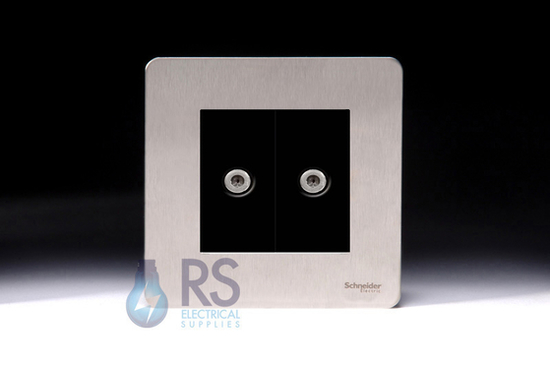 Schneider Screwless Flat Plate Stainless Steel Twin Satellite Socket Black Inserts GU74302MBSS