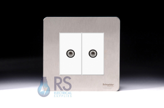 Schneider Screwless Flat Plate Stainless Steel Twin Satellite Socket White Inserts GU74302MWSS