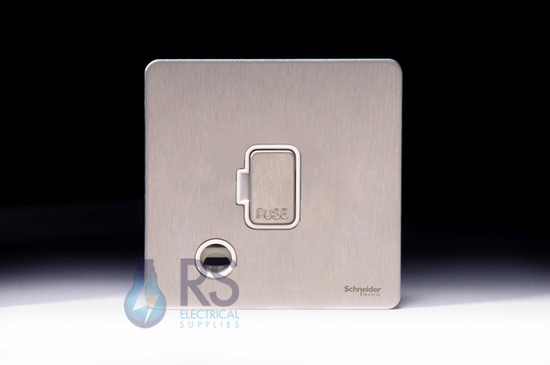 Schneider Screwless Flat Plate Stainless Steel Unswitched with Flex Outlet White Inserts GU5403WSS