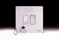 Schneider Screwless Flat Plate Switched Spur Flex Outlet Polished Chrome GU5413WPC