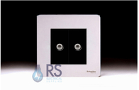 Schneider Screwless Flat Plate Twin Satellite Socket Polished Chrome GU74302MBPC