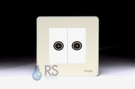 Schneider Screwless Flat Plate Twin TV Socket Pearl Nickel GU7420MWPN