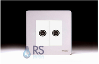 Schneider Screwless Flat Plate Twin TV Socket Polished Chrome GU7420MWPC