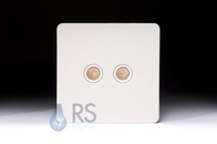 Schneider Screwless Flat Plate Twin TV Socket White Metal GU7420WPW