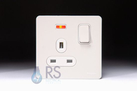 Schneider Screwless Flat Plate White Metal Single Socket Neon GU3411DWPW