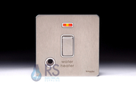 Schneider ScrewlessFlat Plate 20A DP Switch Stainless Steel Flex Outlet & Neon GU2414WHWSS