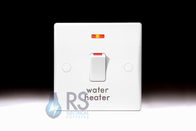 Schneider Ultimate Slimline White Moulded 20A DP Switch Flex Outlet & Neon 'Water Heater' GU2014WH