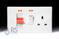 Schneider Ultimate Slimline White Moulded Cooker Switch & Socket Neons GU4001