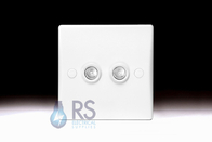 Schneider Ultimate Slimline White Moulded Double TV Socket GU7020