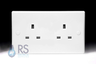 Schneider Ultimate Slimline White Moulded Double Unswitched Socket GU3060