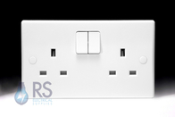 Schneider Ultimate Slimline White Moulded DP Double Socket GU3020D