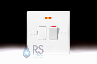 Schneider Ultimate Slimline White Moulded Switched Spur Flex Outlet & Neon GU5014