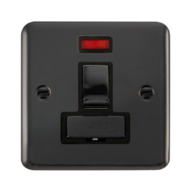Scolmore 13A Black Nickel Connection Unit, Ingot DP Switched Fused Spur With Neon DPBN752BK