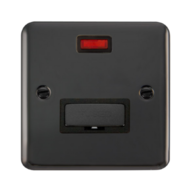 Scolmore 13A Black Nickel Connection Unit, Ingot DP UnSwitched Fused Spur With Neon DPBN753BK