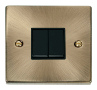 Scolmore Click Deco Antique Brass 2 Gang 2 Way Switch VPAB012BK