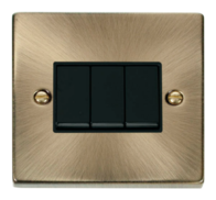 Scolmore Click Deco Antique Brass 3 Gang 2 Way Switch VPAB013BK