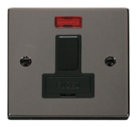 Scolmore Click Deco Black Nickel 13A Switched Fused Connection Spur Unit and Neon without Flex Outlet VPBN652BK