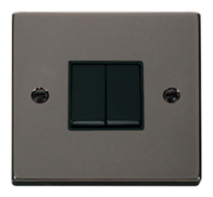 Scolmore Click Deco Black Nickel 2 Gang 2 Way Switch VPBN012BK
