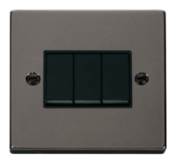 Scolmore Click Deco Black Nickel 3 Gang 2 Way Switch VPBN013BK