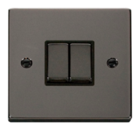 Scolmore Click Deco Black Nickel Ingot Light Switch 2 Gang 2Way VPBN412BK