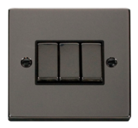 Scolmore Click Deco Black Nickel Ingot Light Switch 3 Gang 2Way VPBN413BK