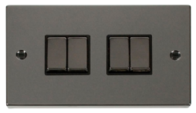 Scolmore Click Deco Black Nickel Ingot Light Switch 4 Gang 2Way VPBN414BK