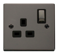 Scolmore Click Deco Black Nickel Ingot Single Socket VPBN535BK