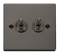 Scolmore Click Deco Black Nickel Toggle Switch 2 Gang 2Way VPBN422