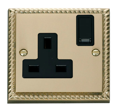 Scolmore Click Deco Georgian Style 13A 1 Gang Double Pole Switched Socket GCBR035
