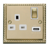 Scolmore Click Deco Georgian Style 13A USB 1 Gang Switched Socket GCBR571