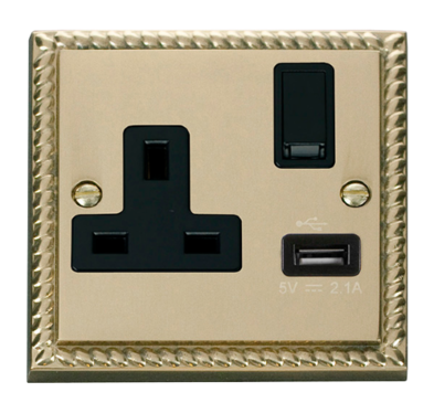 Scolmore Click Deco Georgian Style 13A USB 1 Gang Switched Socket GCBR771