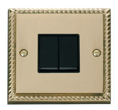 Scolmore Click Deco Georgian Style 2 Gang 2 Way Switch GCBR012