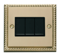 Scolmore Click Deco Georgian Style 3 Gang 2 Way Switch GCBR013