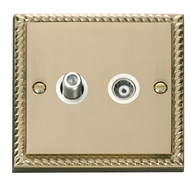 Click Deco Georgian Brass Isolated Coax & Satellite Socket GCBR157WH