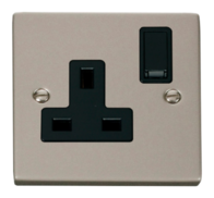 Scolmore Click Deco Pearl Nickel 13A 1 Gang Double Pole Switched Socket VPPN035