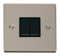 Scolmore Click Deco Pearl Nickel 2 Gang 2 Way Switch VPPN012