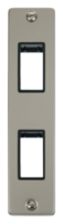 Scolmore Click Deco Pearl Nickel  2G Twin Architrave Switch Plate VPPN472