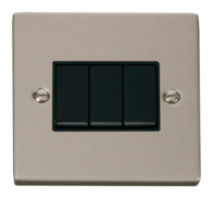 Scolmore Click Deco Pearl Nickel 3 Gang 2 Way Switch VPPN013