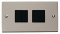 Scolmore Click Deco Pearl Nickel 4 Gang 2 Way Switch VPPN019