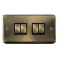 Scolmore Click Deco Plus Antique Brass 10AX Ingot 4 Gang 2 Way Plate Switch DPAB414BK