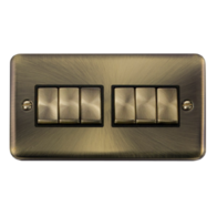 Scolmore Click Deco Plus Antique Brass 10AX Ingot 6 Gang 2 Way Plate Switch DPAB416BK