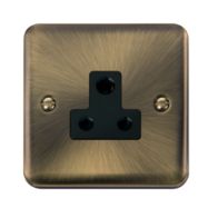 Scolmore Click Deco Plus Antique Brass 1G 5A Round Pin Socket Outlet DPAB038BK