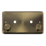Scolmore Click Deco Plus Antique Brass Double Dimmer Mounting Plate & Knobs 1630W DPAB186