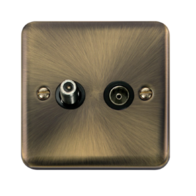 Scolmore Click Deco Plus Antique Brass Non-Isolated Satellite & Co-Axial Socket DPAB170BK