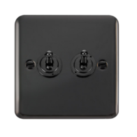 Scolmore Click Deco Plus Black Nickel 10AX 2 Gang 2 Way Toggle Switch DPBN422